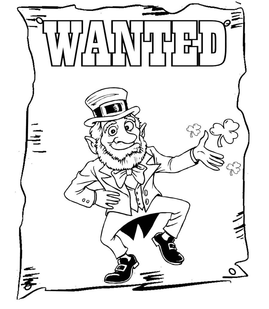 St Patrick's Day Wanted Coloring Page Coloring pages