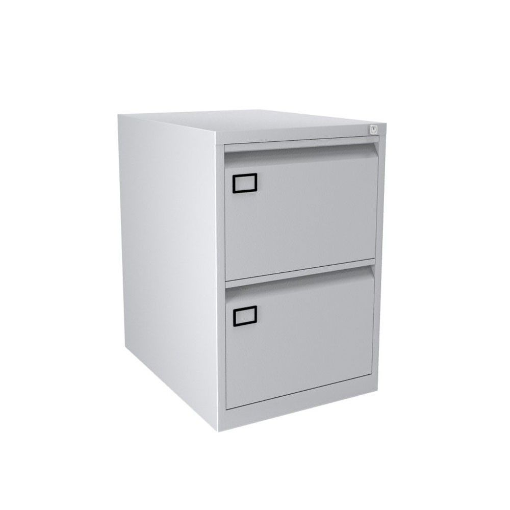 Bisley S 2 Drawer Aoc Filing Cabinet Comes In A Light Grey Steel Finish Holds Foolscap Suspension Files Is Lockable And Available For Next Day Delivery