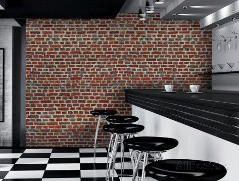 Red Brick Wall Giant Wallpaper Mural Wallpaper Mural - AllPosters.co.uk