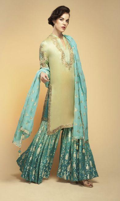 fc56e9b450d2 Stylish Gararas - Exclusive Bridal Gararas for Sangeet Mehndi by Vemanya