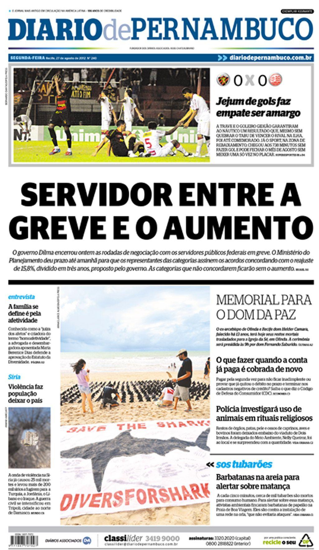 6d23980da6 Manifestação pacífica pela preservação dos tubarões sai na capa do Diário  de Pernambuco. Shark preservation at Pernambuco Newspaper cover!