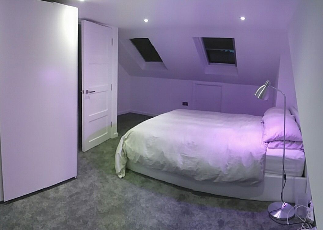 Loft Conversion With Grey Carpet And White Bed From Wayfair Co Uk Lifx Bulb In Ikea Lamp In 2019 Ikea Lamp White Bedding Grey Carpet