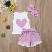 Cute Heart Print Bow Knot Decor Sleeveless Top Lace Trimmed Shorts and Headband Set