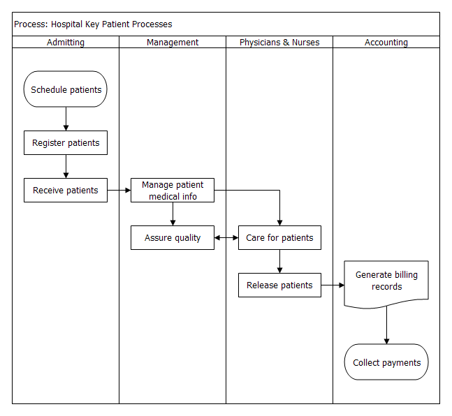 Swim Lane Flow Chart Example Hospital Key Patient Processes Png 647 596 Flow Chart Hospital Flow Chart Template