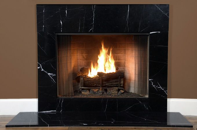 Black Marble Fireplace Surround Interior Exterior Doors Black