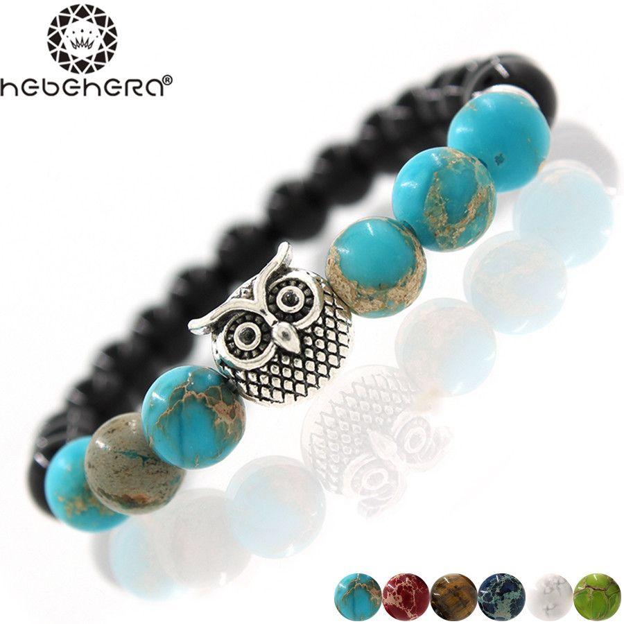 Silver u golden animal owl head bracelet men beaded black matte