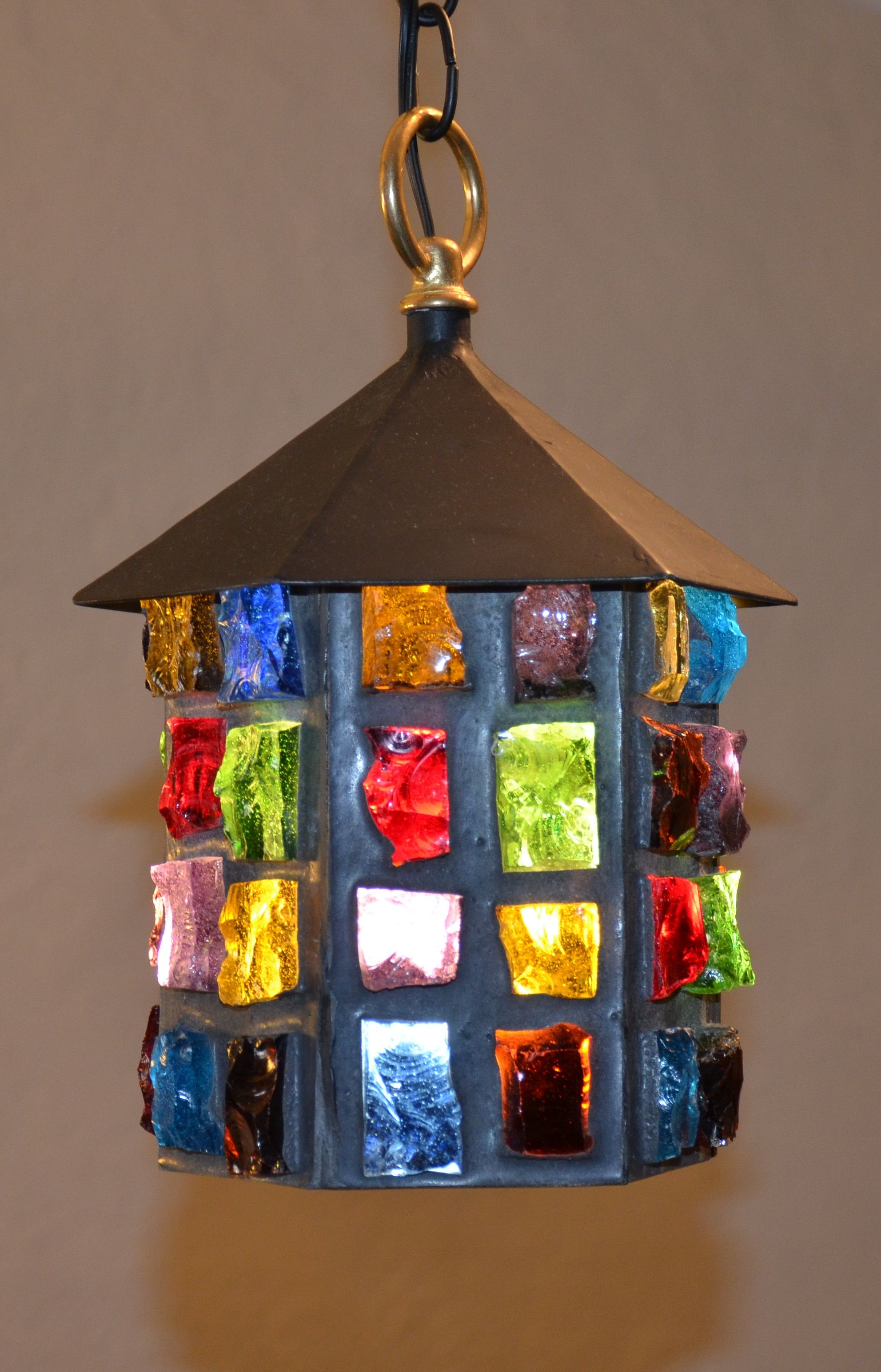 Mid Century Felipe Derflingher Feder s Glass Chandelier Lamp Hand