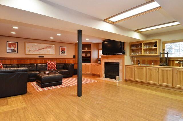 Basement rec room with wine bar