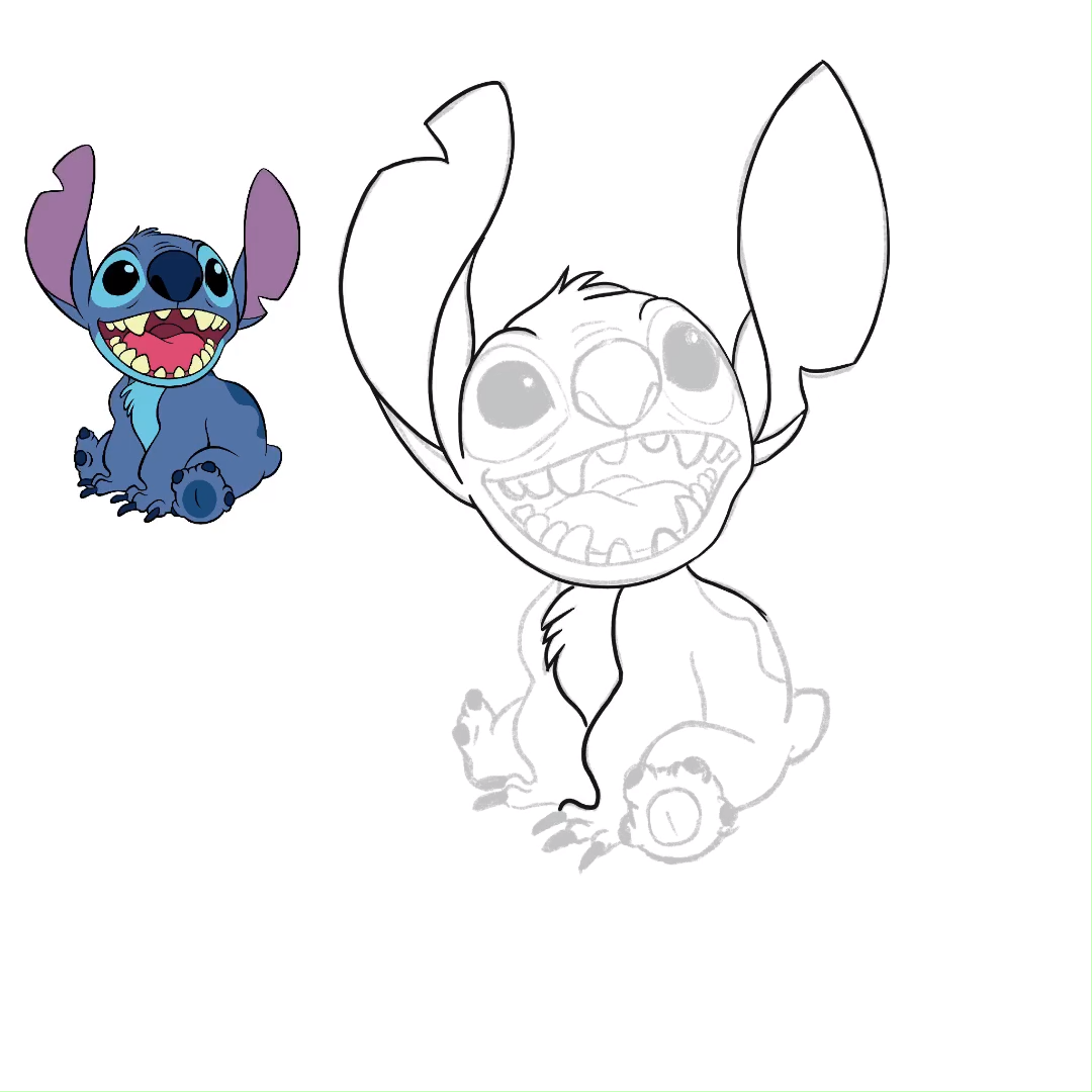 Drawing Stitch From Scetch To Final Colorful Illustration Follow Me For More Speed Drawing Videos Dra Lilo And Stitch Drawings Stitch Drawing Kitten Drawing
