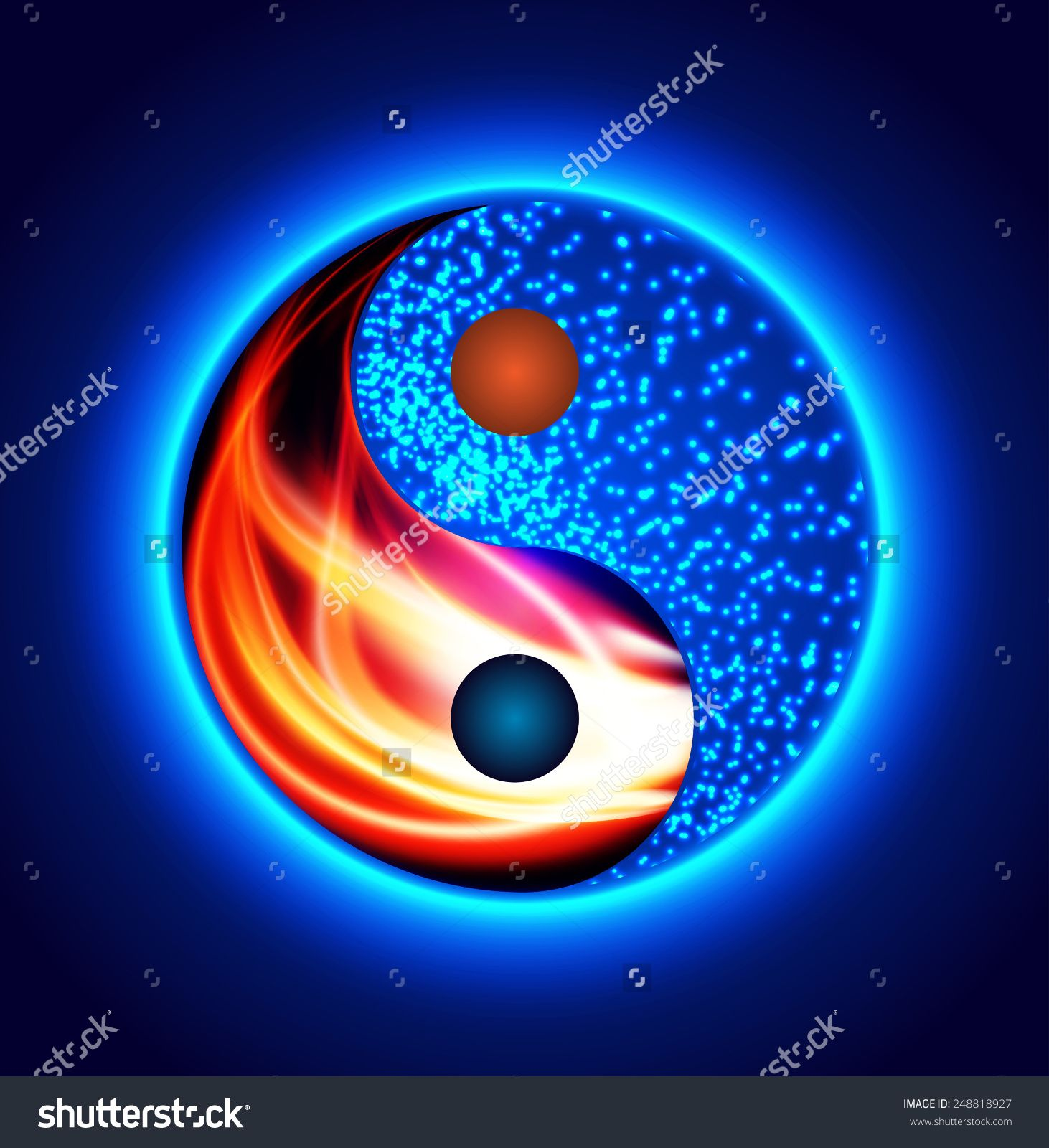 Yin Yang Symbol. Red Fire And Blue Water, Opposite
