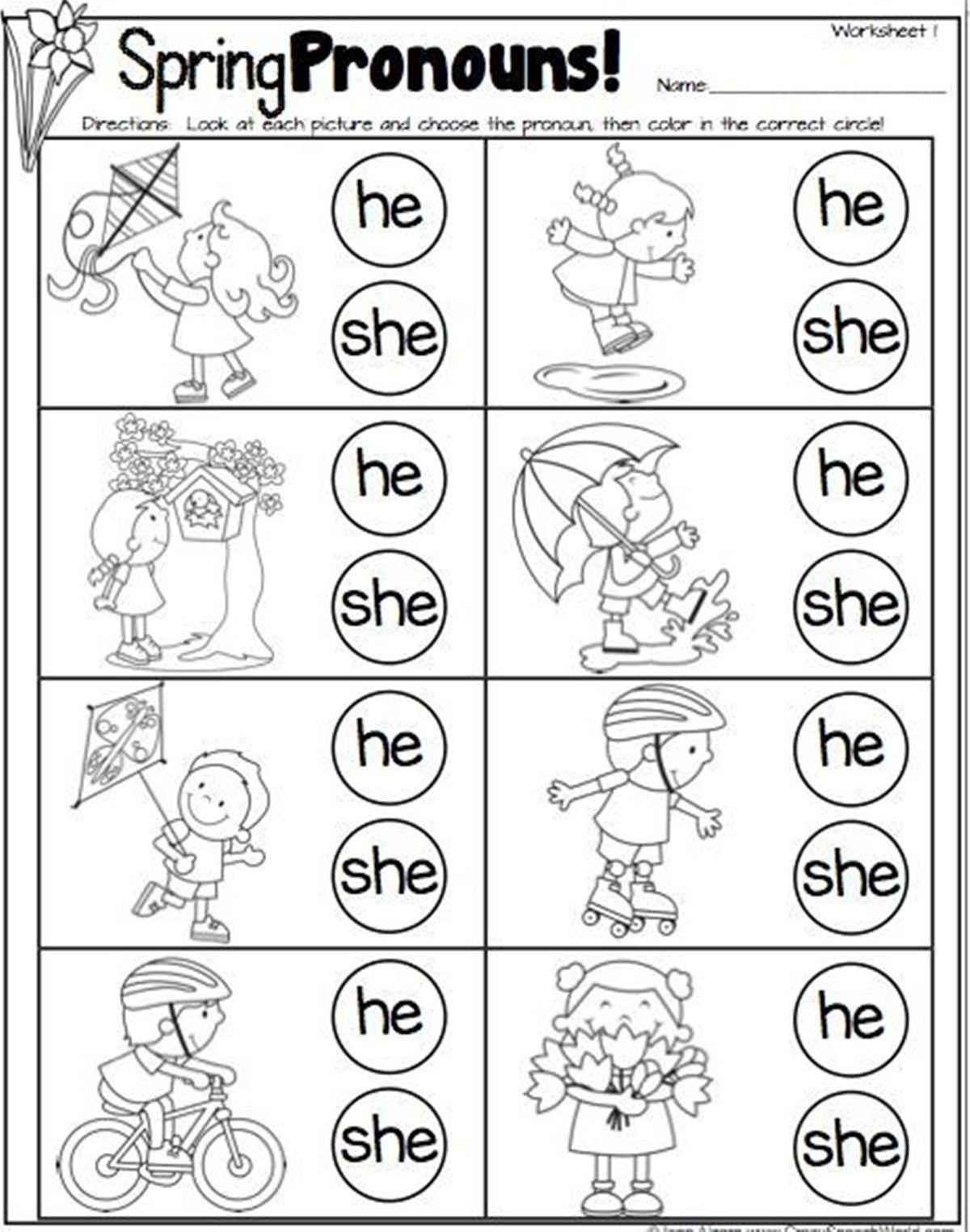Pronoun In English Spring Speech Therapy Speech And Language Pronoun Worksheets [ 1524 x 1200 Pixel ]