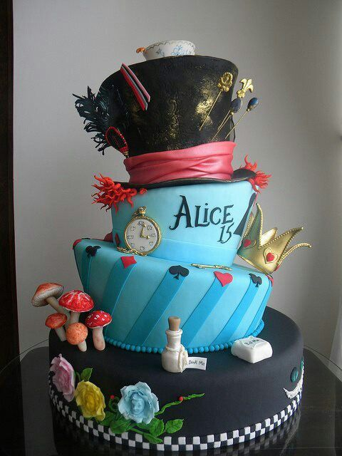 Outstanding Alice In Wonderland Cake Idea For Savannahs Sweet 16 With Images Personalised Birthday Cards Cominlily Jamesorg
