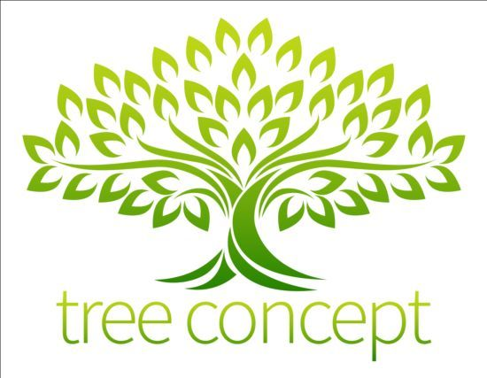 green tree logos vector