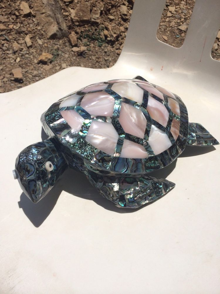 Figure Sculpture Turtle Abalone Sea Shell Art Craft