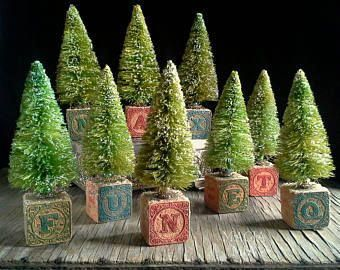 3 Victorian Blocks Bottle Brush Trees Wooden Toy Building Blocks Upcycled Christmas Decor In 2020 Christmas Diy Bottle Brush Christmas Trees Christmas Decorations