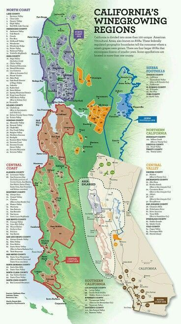 CALIFORNIA'S WINE GROWING REGIONS   Winerys, Breweries ...