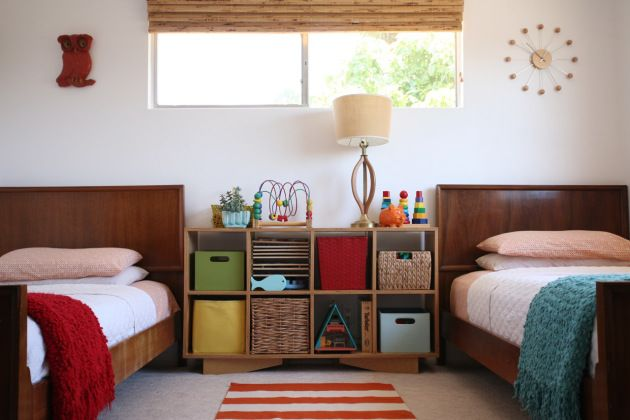 Shared Children S Room Danish Modern Twin Beds Bedframes Stripes