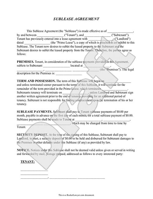 Printable Sample Sublease Agreement Template Form Real