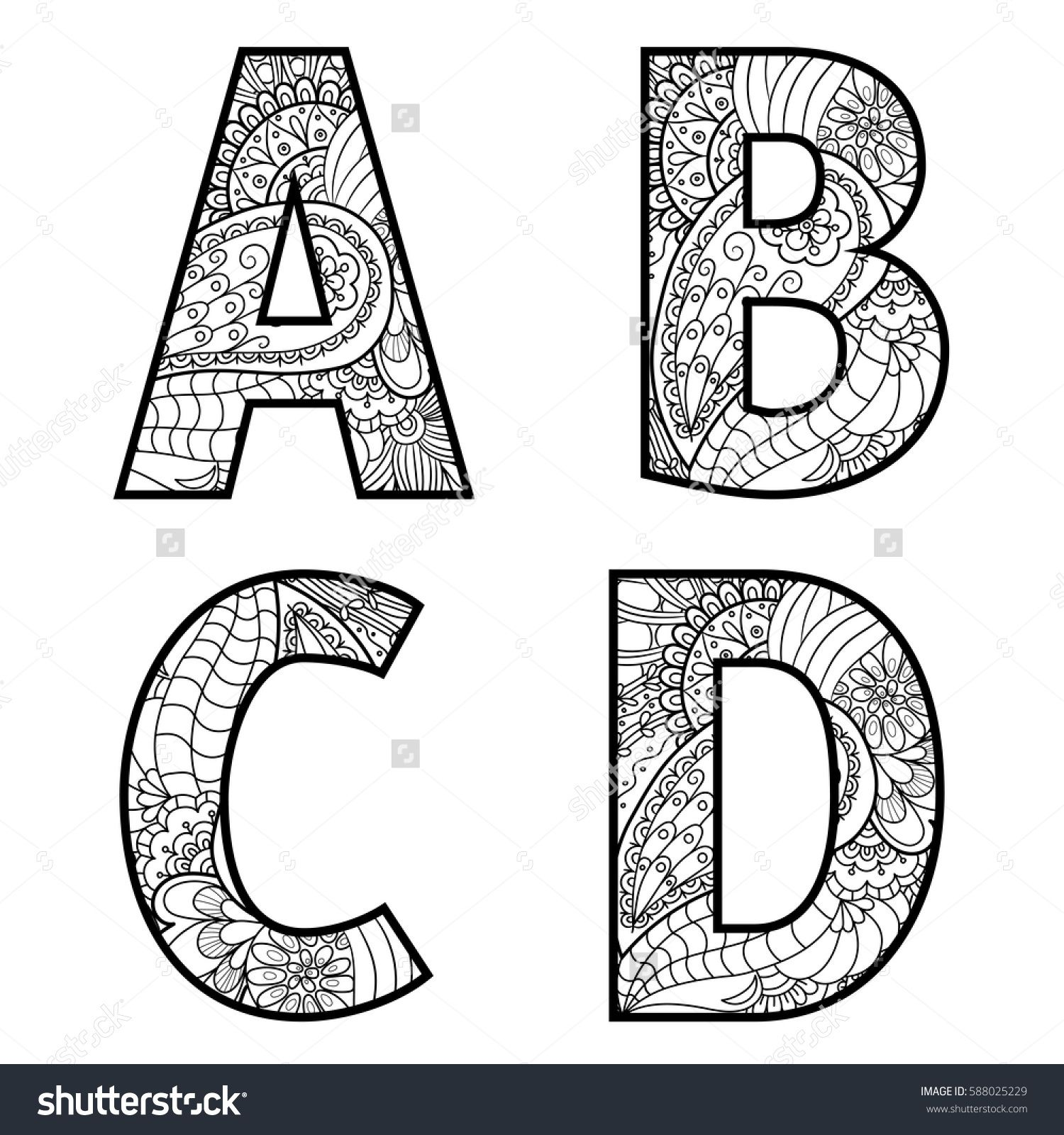 Set of vector big letters with