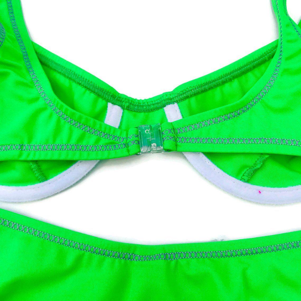 3273ec1cff 90 s Neon Lime Green Bikini Swimsuit Hi-Cut French Cut Bikini 2 pc ...