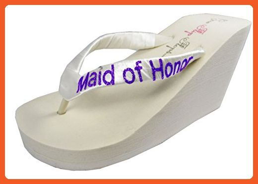 Wedding Flip Flops Maid of Honor Bridesmaid Bridal Flip Flops Bride ...