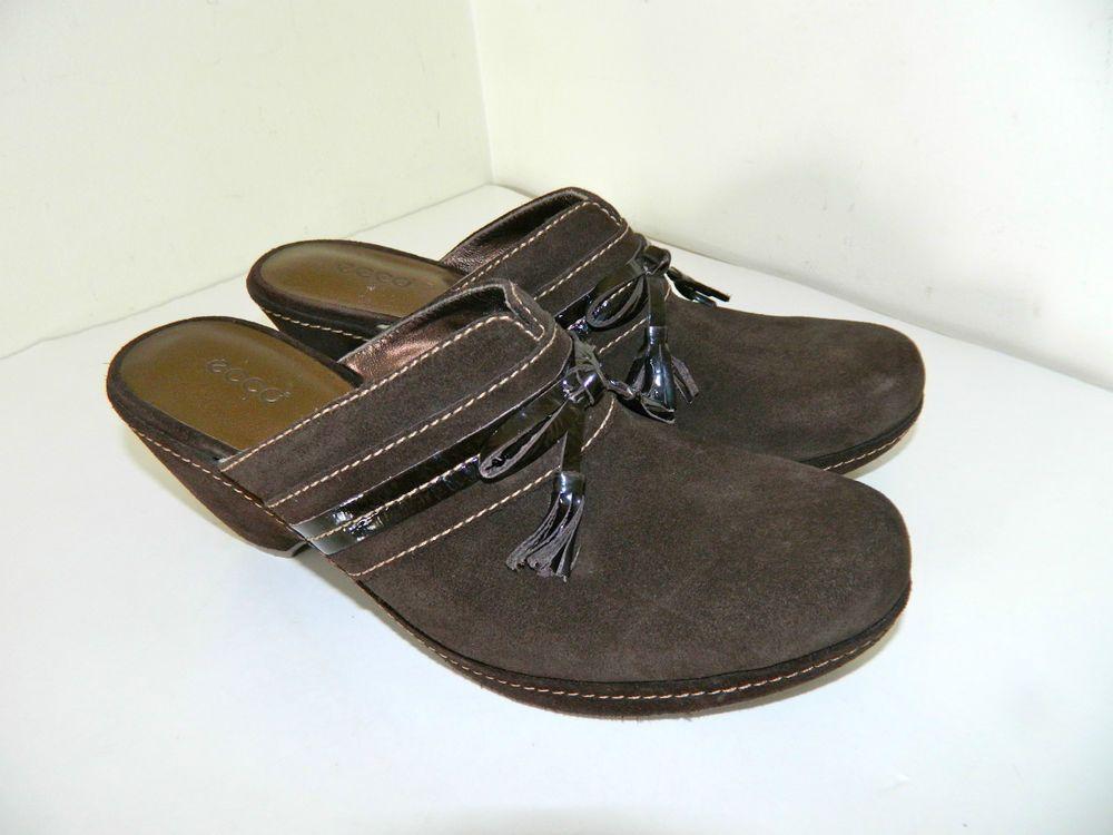 Women's ECCO Brown Suede Mules Clogs Size 38 (EUR) 7.5 ...