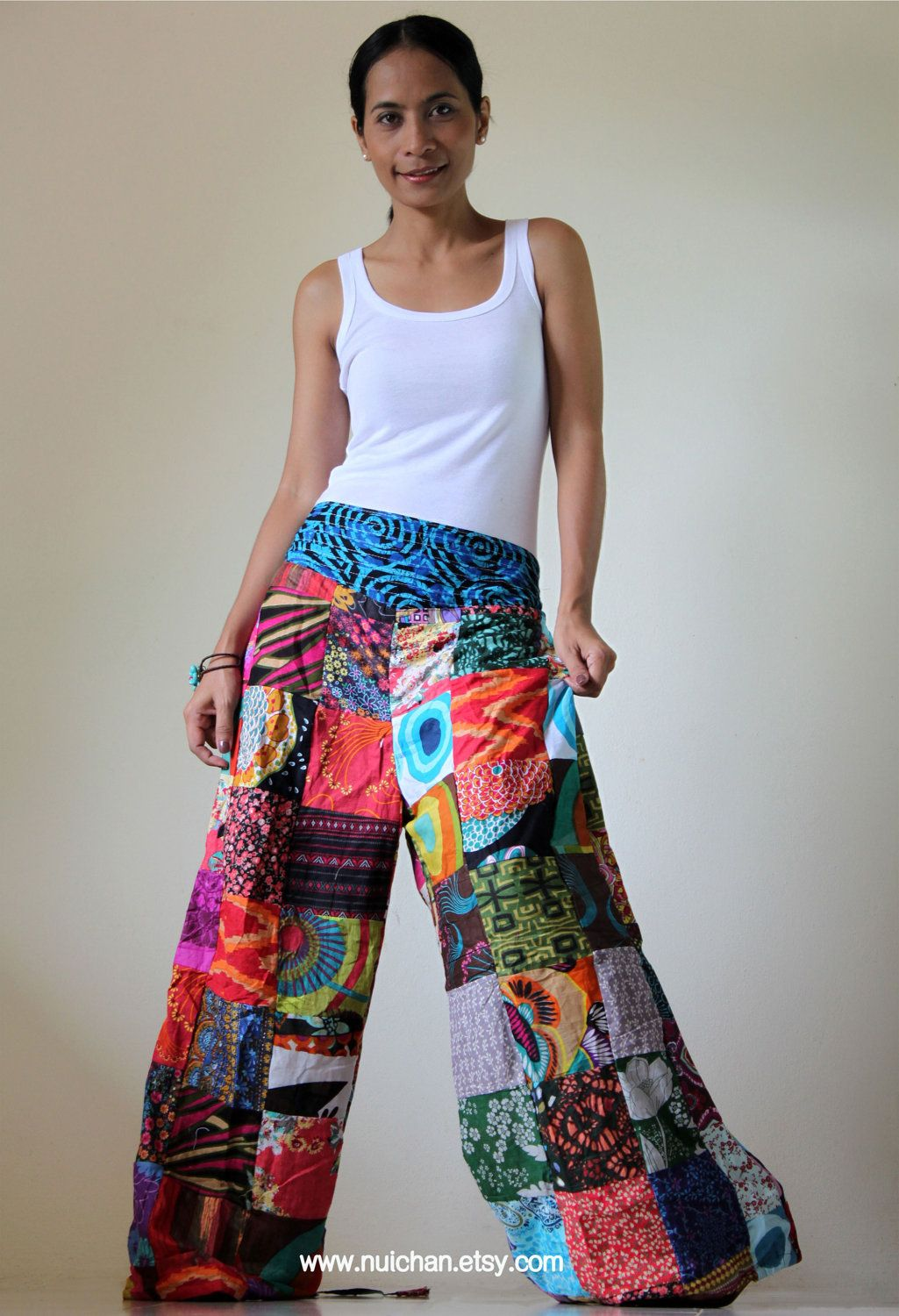 Wide Leg Pants Boho Patchwork : Boho Patchwork Pants