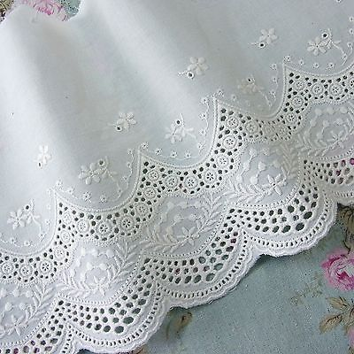 Vintage Beautiful Colourful Retro Embroidered Lace Trim Ribbon for DIY Crafts White