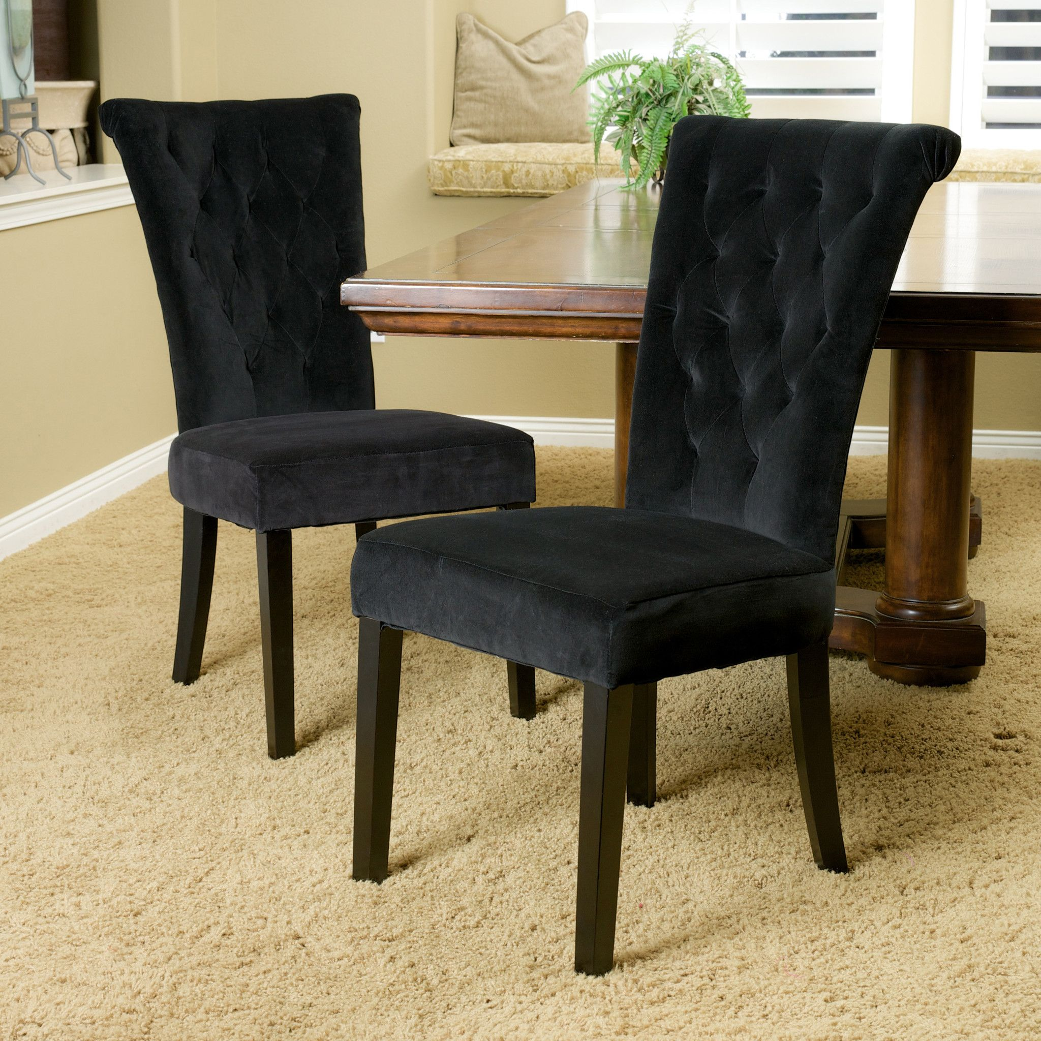 Paulina Black Velvet Dining Chairs Set Of 2 Tufted Dining Chairs Fabric Dining Chairs Parsons Dining Chairs