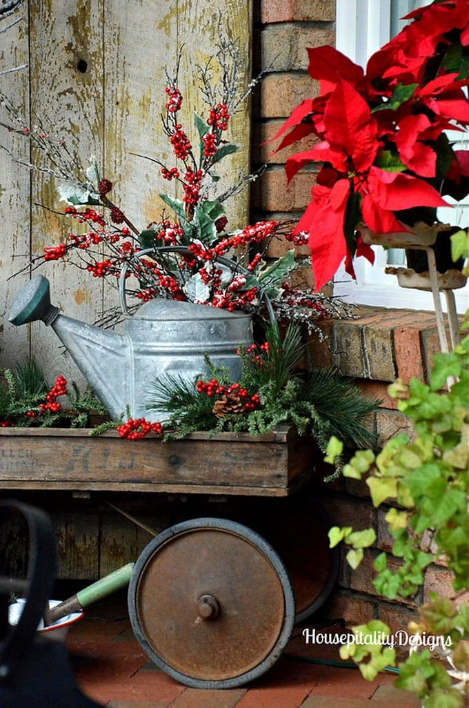 24 Colorful Winter Planters  Christmas Outdoor Decorations in 2018