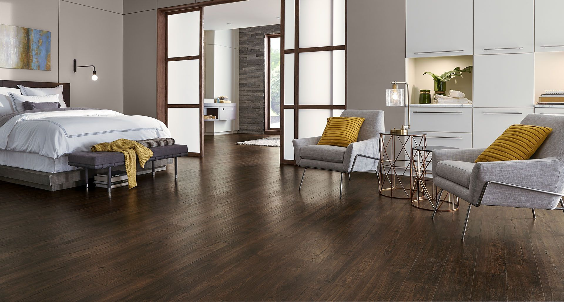 Java Sed Oak Pergo Outlast Laminate Flooring Creates A Clean And Spacious Look With Modern Grey