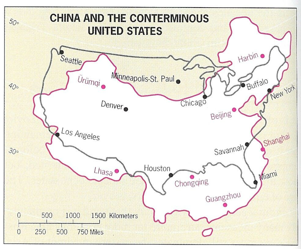 Map Of China Overlaid On The United States Along The Same Lines Of