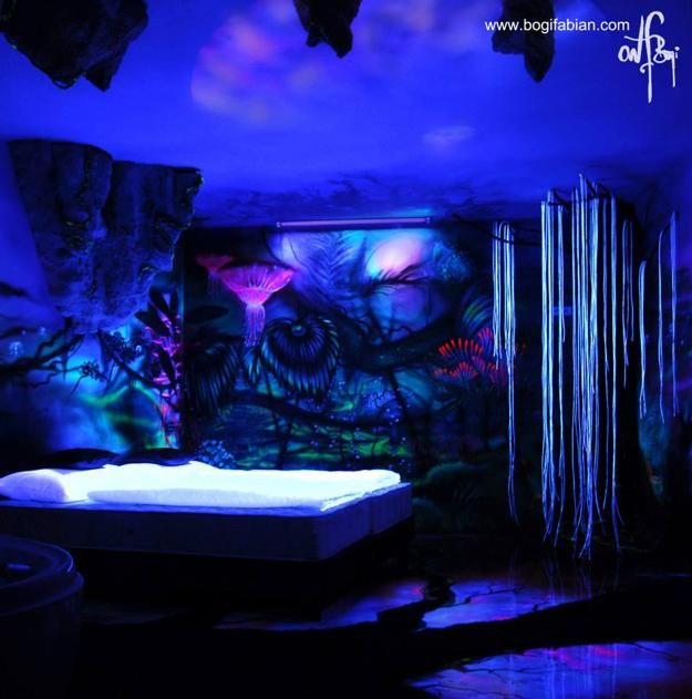 Glowing Wall Painting Ideas Bringing Futuristic Space Themes Into Rooms Space Themed Room Black Light Room Bedroom Murals