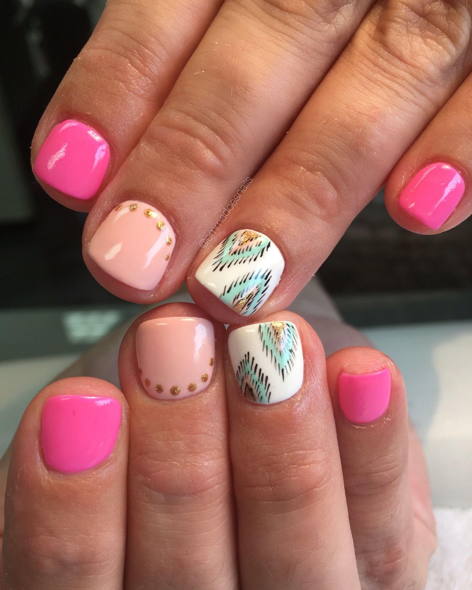 Ikat nails, pink nails, Aztec nails, tribal nails, gel nails, gel ...