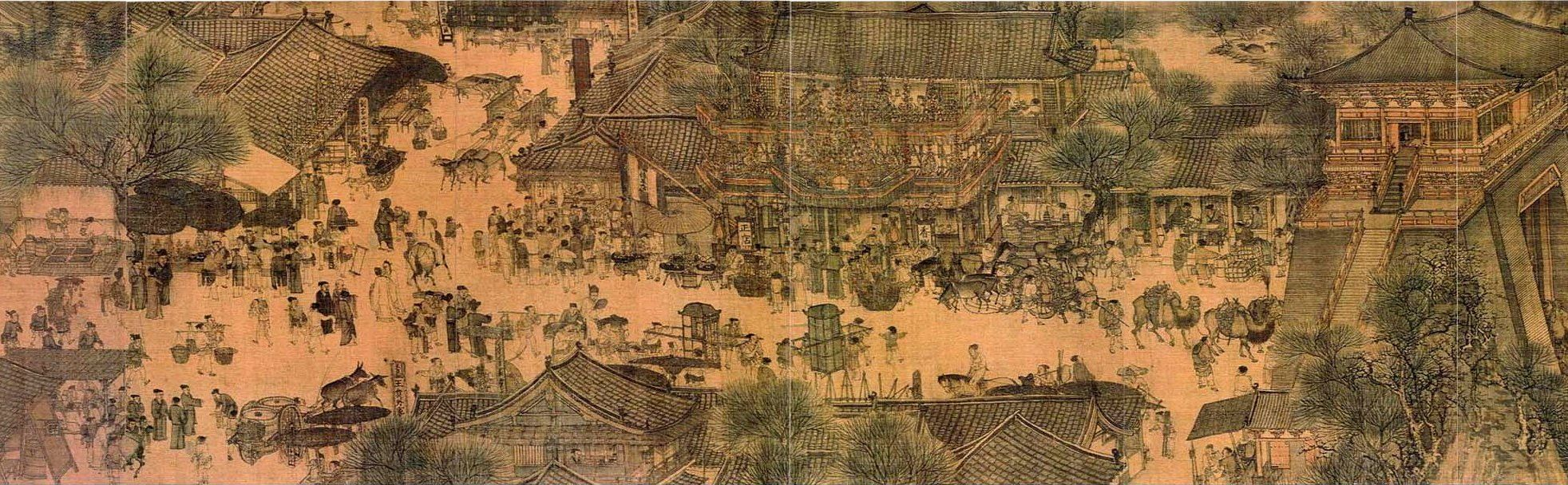 """zhang zeduan (1085–1145) - """"riverside scene at qingming festival"""" (detail, far left) - the scroll is 25.5 centimeters (10.03 inches) in height and 5.25 meters (5.74 yards) long"""