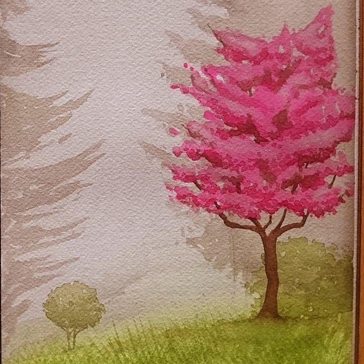 تعليم الرسم بالالوان المائية كيف ترسم منظر طبيعي شجر وردي و عشب الوان مائيه مناظر طبيعيه رسم نبات Colorful Drawings Boho Art Drawings Drawings