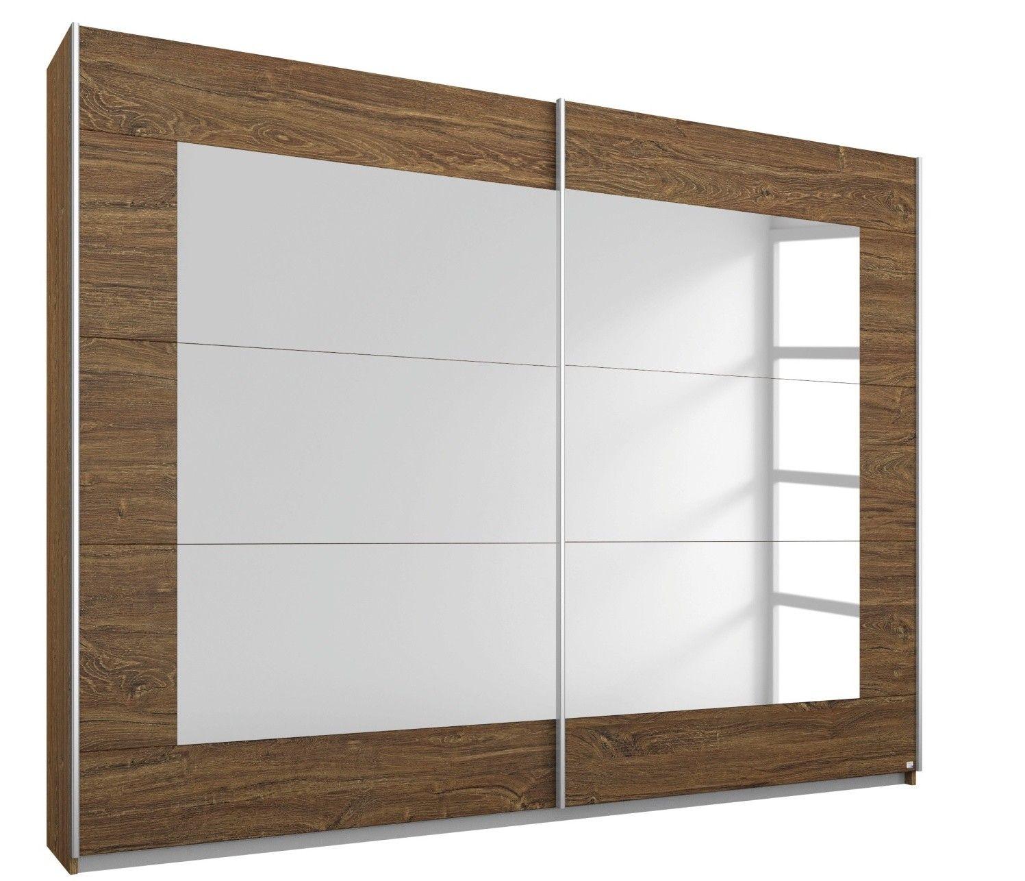 Mobel Select Armoire A Portes Coulissantes Marron Et Miroir Brian 181 Lestendances Fr Porte Coulissante Armoire Miroir
