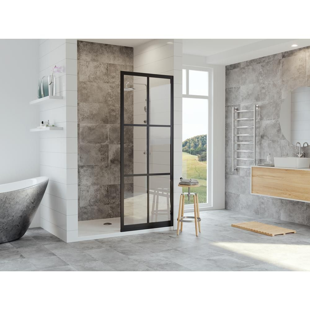 Coastal Shower Doors Gridscape Series 36 In X 75 In Factory Window Framed Fixed Shower Screen In Black And Cl Coastal Shower Doors Shower Doors Shower Screen