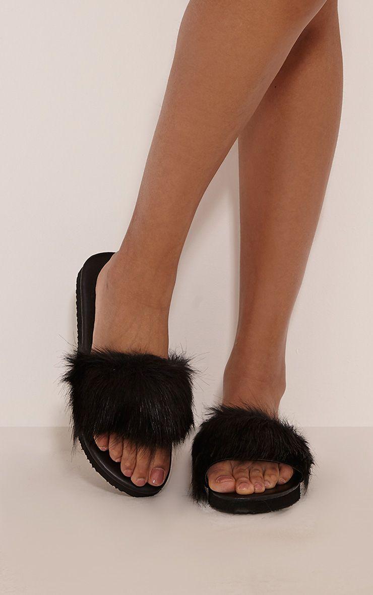 India Grey Fluffy Sliders Fluffy Sliders Black Slip On
