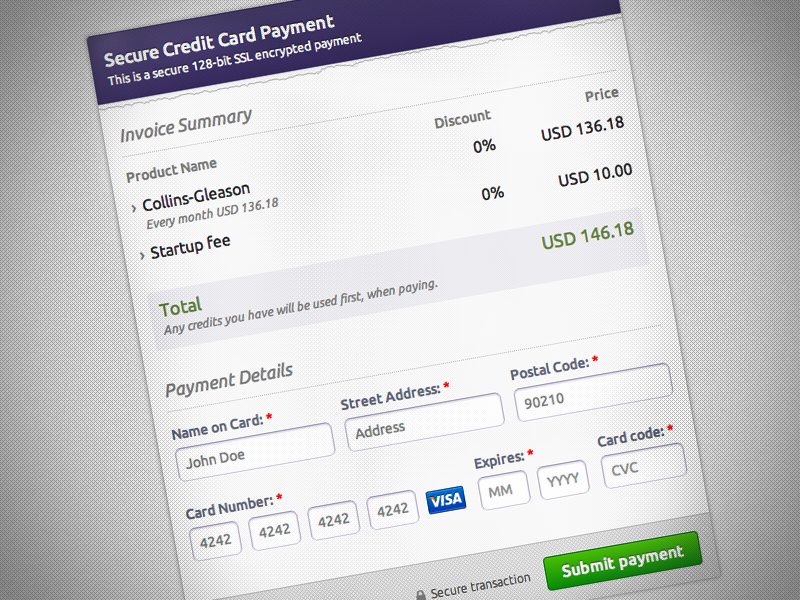 Peakium Payment Form Payment Secure Credit Card Credit Card