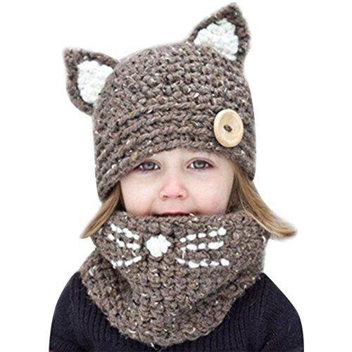b2a50e41dc4 chicchic pc bonnet tour de cou hiver bb enfants cagoule chaud casquette  echarpe with cagoule au crochet