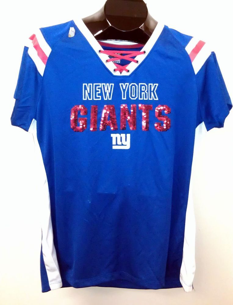 on sale d5db5 48231 NEW NY Giants Ladies/Womens S/S Jersey T-Shirt w/ Sequins ...