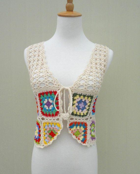 Granny Square Crochet Vest Tie Front | Abuelas, Corbatas y Plaza