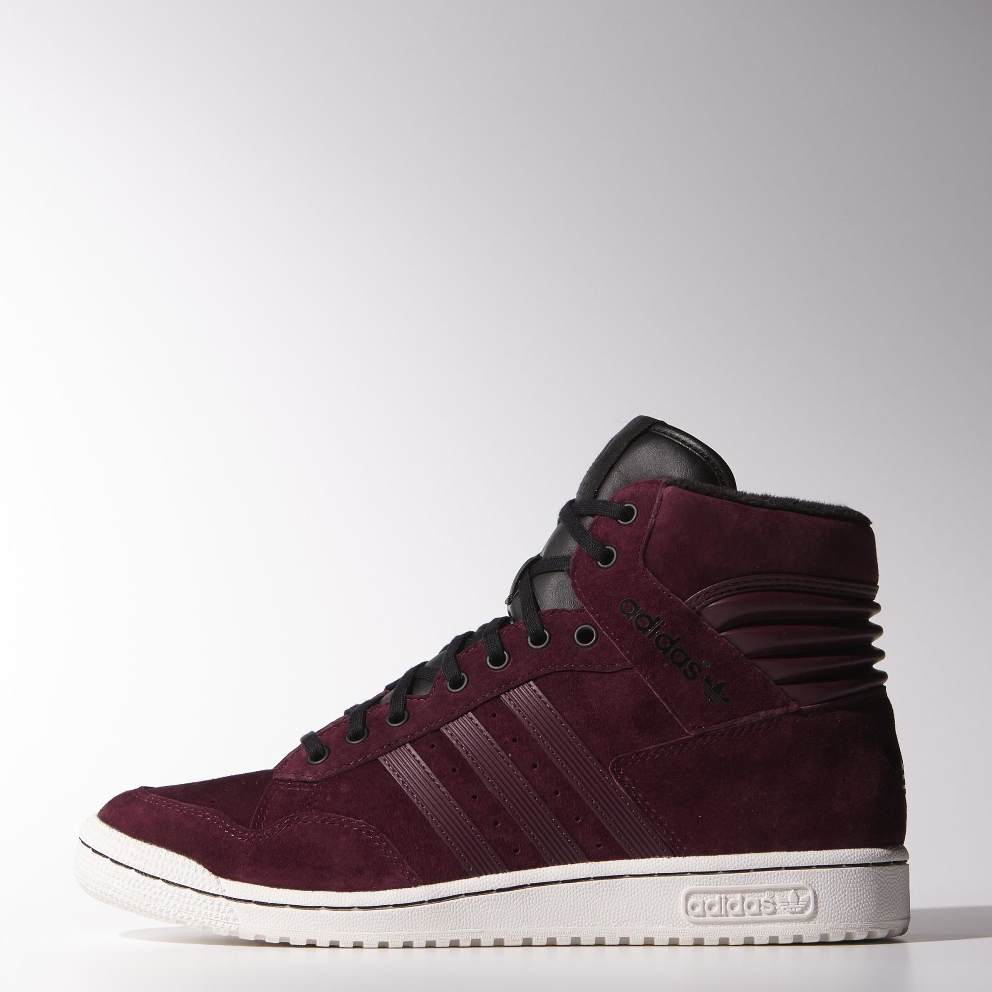 Adidas burgundy suede and black leather detail high top