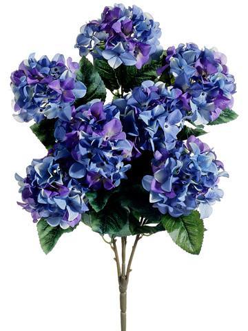 Hydrangea Silk Flower Bush In Purple And Blue Silk Flowers Wedding Purple Wedding Flowers Artificial Flowers Wedding