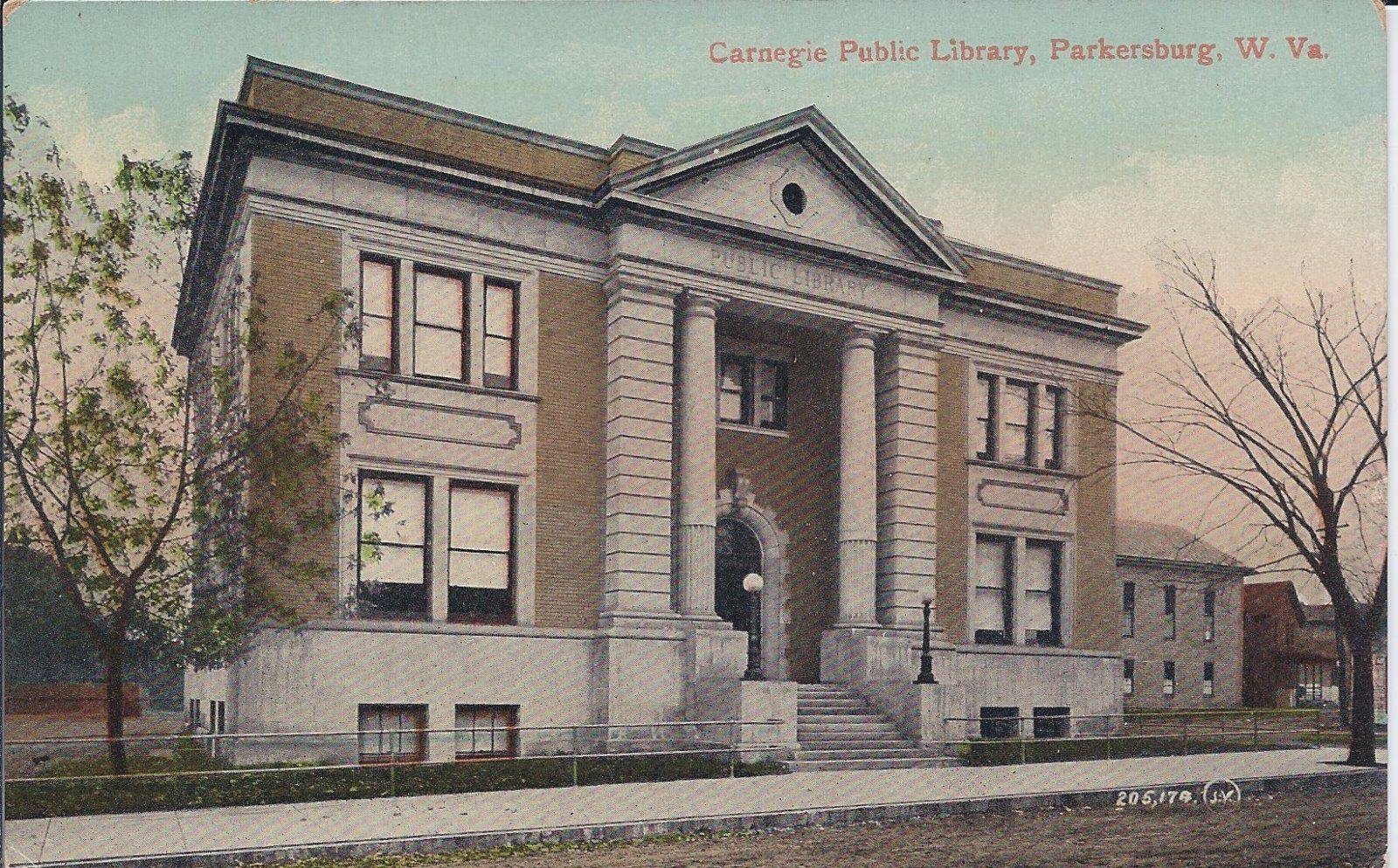 Postcard Exterior Carnegie Public Library Parkersburg Wv Parkersburg Parkersburg Wv West Virginia