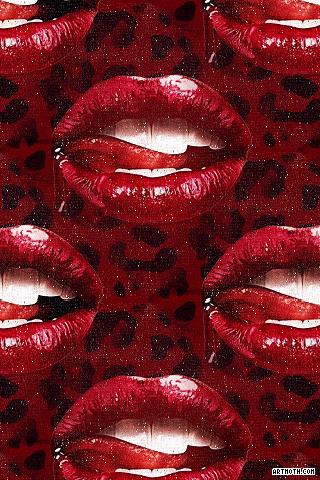 Dark Red Lips On Leopard Print Iphone Wallpaper Dark Red Lips Red Lips Iphone Prints