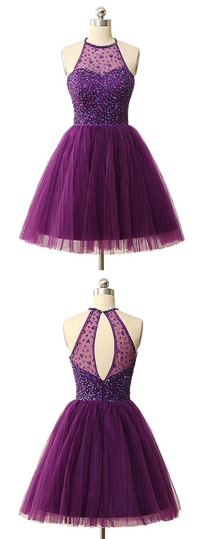 Sexy homecoming dress scoop aline rhinestone tulle sexy short prom
