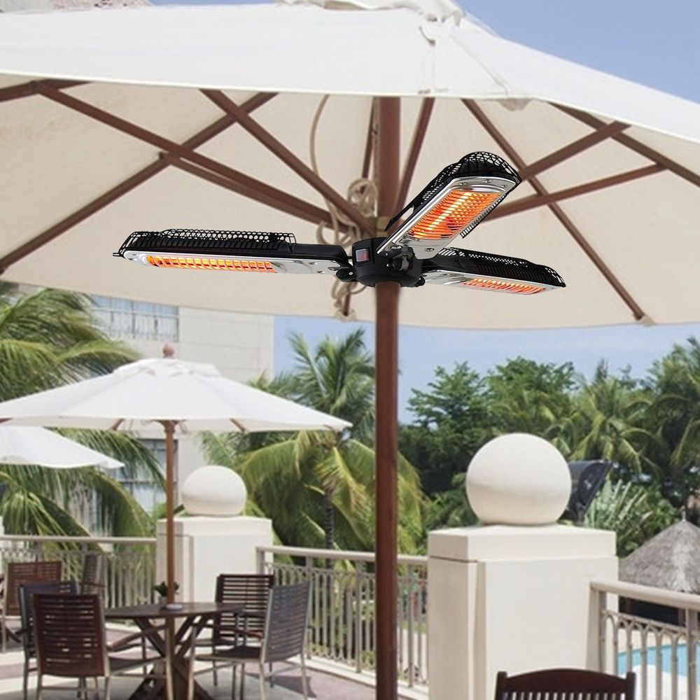 Umbrella Mounted Patio Heater Electric Black Aluminum Plastic Garden Outdoor