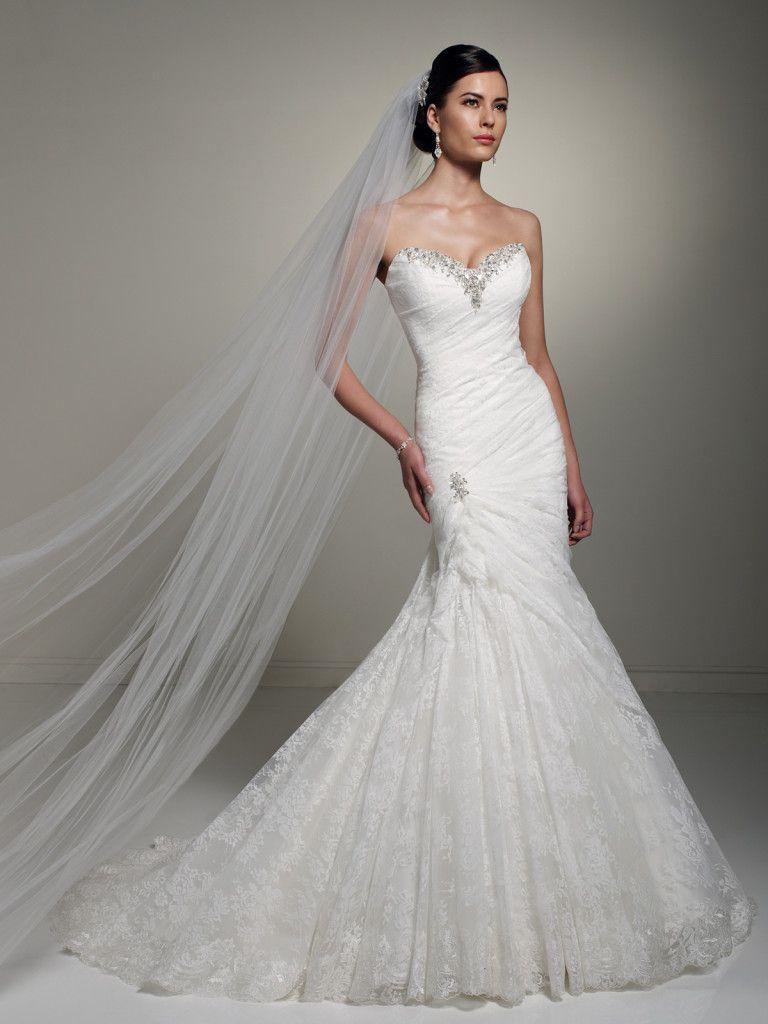 Sophia tolli y u olga strapless lace mermaid wedding dress